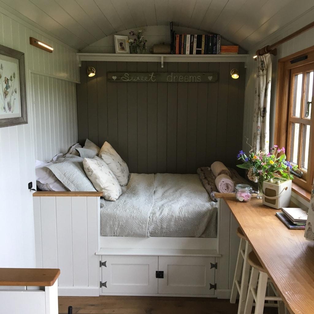 Inside Shepherd's Hut at Farmstead Glamping Dorset