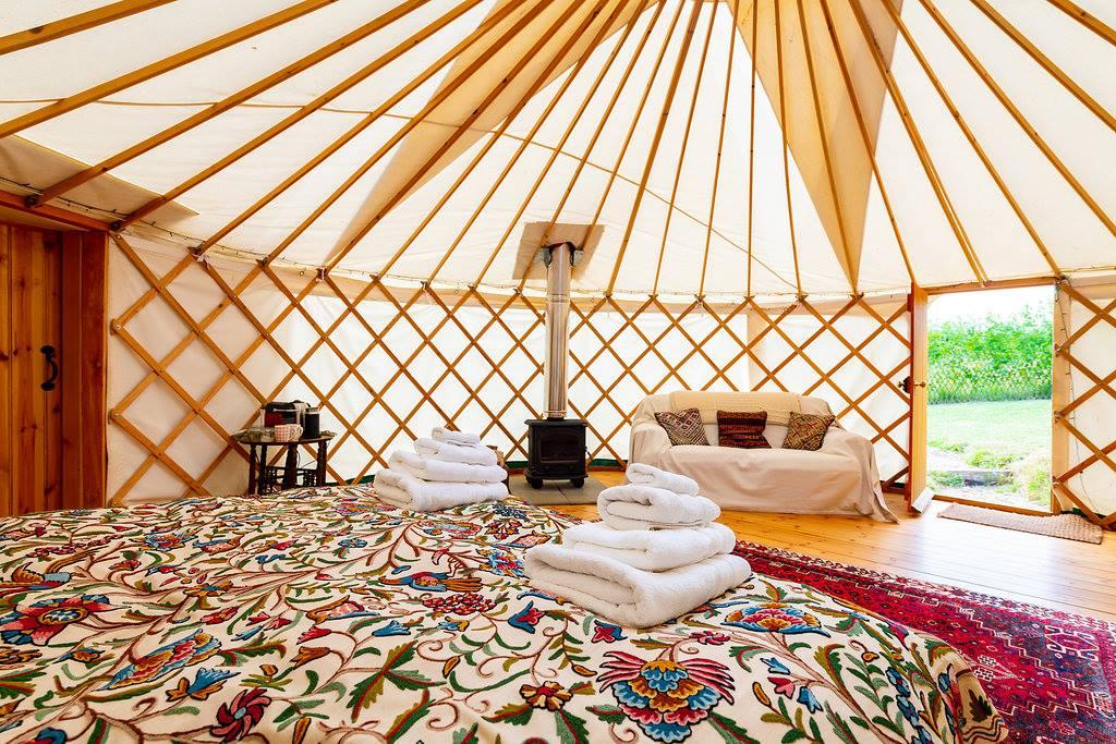 inside yurt at Walnut Farm Glamping