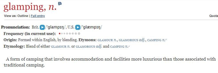 What is glamping definition according to the English Oxford Dictionary