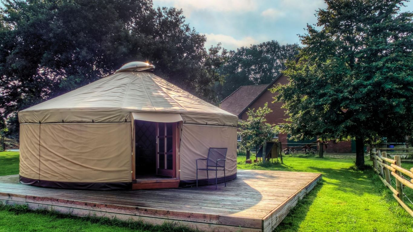 yurt on a platform at a yurt camping site