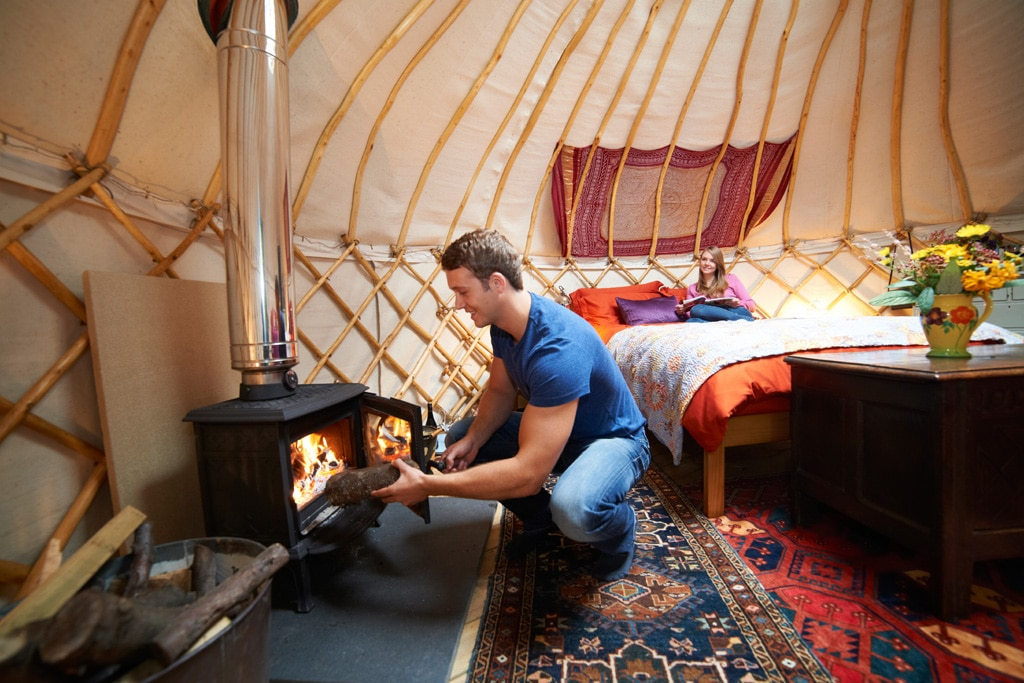 wood burning stove yurt