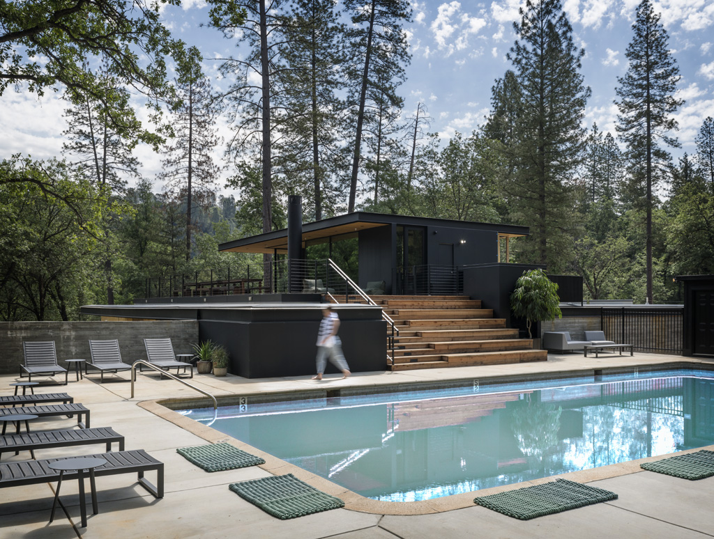swimming pool at the Clubhouse at AutoCamp Yosemite