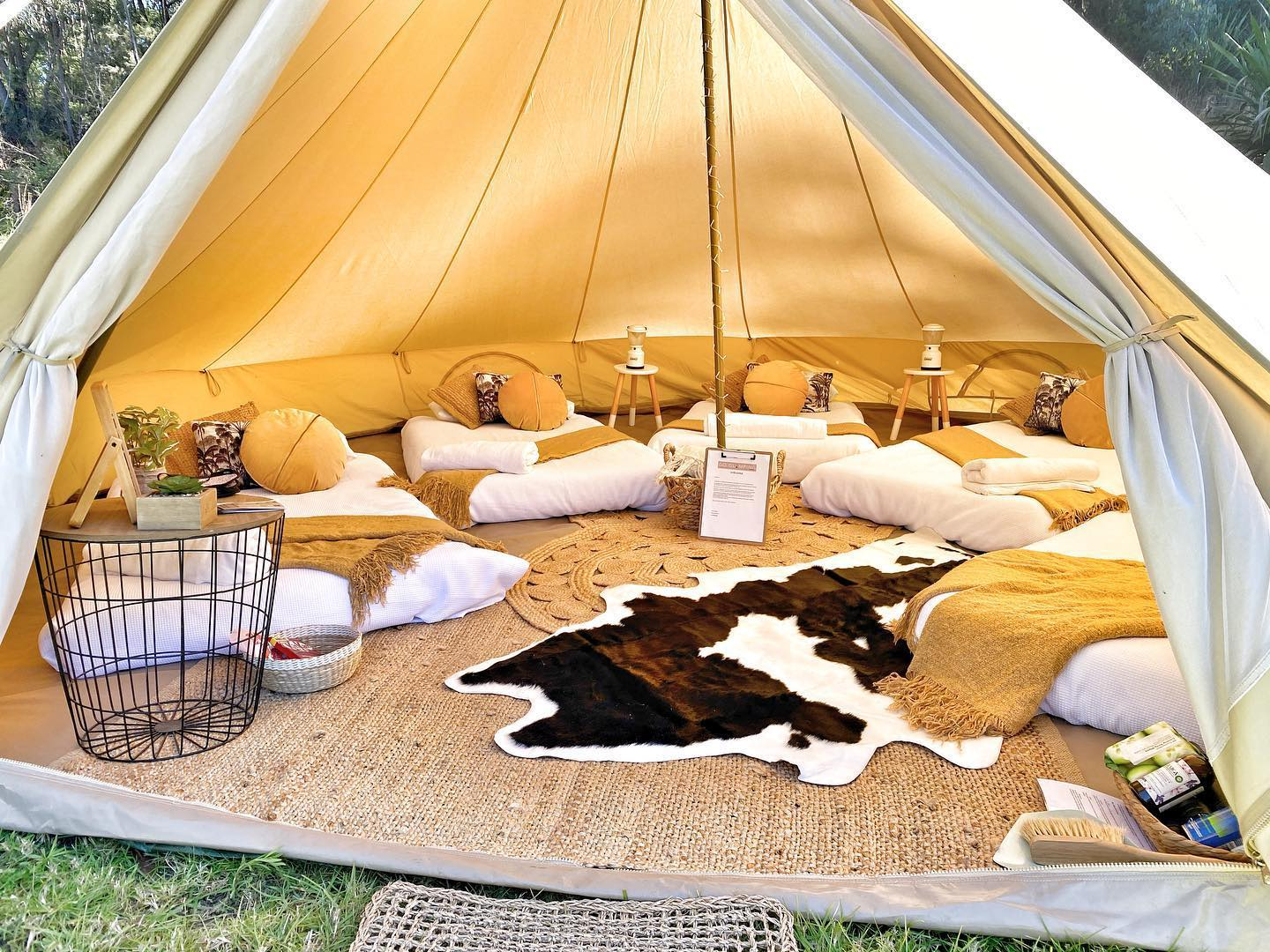 Inside luxury tent Go Glamping NSW